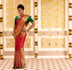 South Indian bride. Hindu bride. Tamil bride. Telugu bride. Malayalee bride. Amala Paul. Red silk kanchipuram sari with contrast green silk blouse.