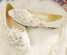 Handmade Lace and Crystal Bridal Shoes Wedding Shoes by laceNbling, $44.50