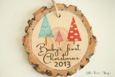 Personalized babies first Christmas ornament from Little Wee Shop - Modern Christmas ornament. Modern Christmas Ornaments, Baby First Christmas Ornament, Little Christmas Trees, Babies First Christmas, Personalized Christmas Ornaments, Christmas Love, All Things Christmas, Christmas Crafts, Christmas Decorations