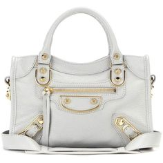 Balenciaga Classic Metallic Edge City Leather Tote (€1.120) ❤ liked on Polyvore featuring bags, handbags, tote bags, grey, gray leather tote, leather purse, grey leather tote bag, genuine leather tote and grey leather tote
