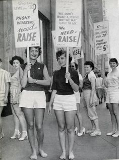 Telephone workers showing up on the picket lines in full force in Los Angeles in 1955.