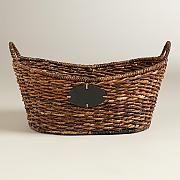 Large Oval Madras Chalkboard Basket