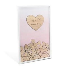 Guest Book Alternative..guest book trends..rustic flair. Personalized Ombre Wedding Drop Box will encourage your guests to write a brief message on a wooden heart and drop one into this dropbox frame for the bride and groom to read later.
