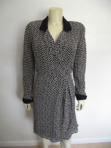 Constance Saunders Black and White Print Dress 8 Wear to Work | eBay