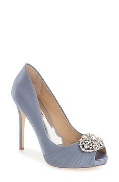 Something blue serenity blue wedding shoes 'Desi' Peep Toe Platform Pumps