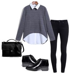 Grey Lapel Long Sleeve Dipped Hem Blouse