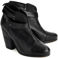 RAG & BONE Harrow Boot in Black ($565) ❤ liked on Polyvore featuring shoes, boots, heels, botas, sapatos, black, short black boots, black bootie, stacked heel boots and heeled ankle boots