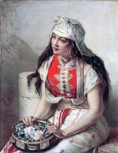 """""""Young Moroccan with Roses"""" - Jean Francois Portaels (belgian painter - 19th century)"""