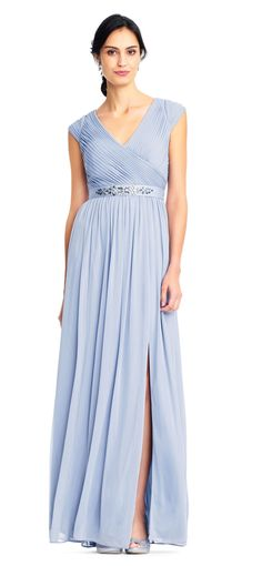 Adrianna Papell Shirred Cap Sleeve Tulle Gown with Jeweled Waist Dusty Periwinkle light blue bridesmaid dress Tulle Gown, Lace Dress, Diana Wedding Dress, Mother Of The Bride Jackets, Light Blue Bridesmaid Dresses, Pleated Bodice, Fitted Bodice, Bridal Party Dresses, Mob Dresses