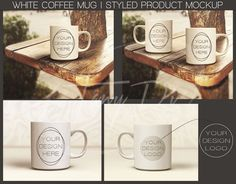 White Coffee Mug on Wooden Table, Outdoor, Styled Product Background, Product Mockup, 2 Mugs outdoor, Stock Image, Bright background, Creamy