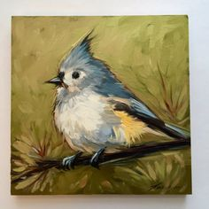 """Tufted Titmouse Painting, 6x6"""" impressionistic original oil painting on panel, bird paintings, bird art, paintings of titmouse,"""