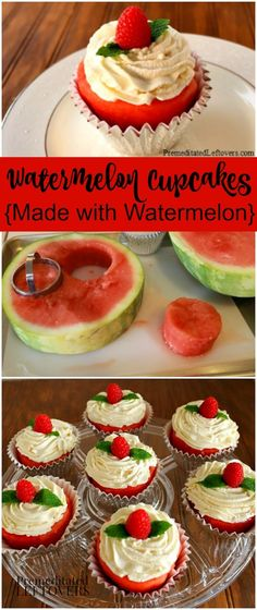 How to make watermelon cupcakes with real watermelon. A step by step tutorial showing how to make create watermelon cupcakes and decorate them with berries.