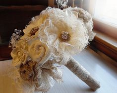 """Rustic Shabby Chic Bouquet, Sola Flowers, Burlap, Lace, Rustic Shabby Chic Weddings. Made to Order. Small is 6 wide, bridesmaid bouquet Medium is 8"""""""