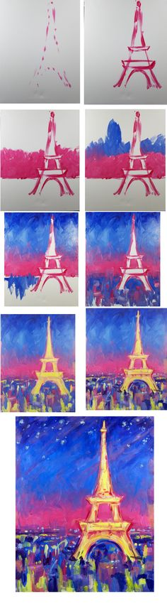 Abstract Paris - Easy Brushes - Big flat, Medium square (optional round) Blue, Red, Yellow, White