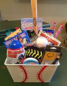 Gift baskets for men, themed gift baskets, baseball boyfriend gifts, base. Baseball Boyfriend Gifts, Baseball Gift Basket, Boyfriend Gift Basket, Baseball Gifts, Boyfriend Anniversary Gifts, Golf Gifts, Birthday Gifts For Boyfriend, 30 Gifts, Baseball Party