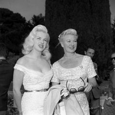 Diana Dors and Ginger Rogers. 1956 Love Diana's top for a wedding dress