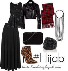 Black skirt, black sequin shirt, black necklace, leather jacket, plaid scarf, black ring, cheetah print shoes Muslim Fashion, Modest Fashion, Hijab Fashion, Fashion Outfits, Islamic Fashion, Hijab Casual, Hijab Chic, Hijab Outfit, Hashtag Hijab