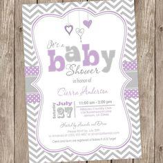 Purple and Grey baby shower invitation chevron by ModernBeautiful