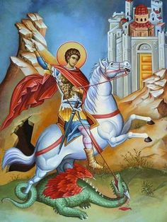 Religious Images, Religious Icons, Religious Art, Byzantine Icons, Byzantine Art, Saint George And The Dragon, Angel Pictures, Bottle Painting, Knights Templar