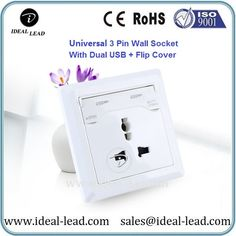Universal 3 Pin Wall Outlet with USB + Flip Cover