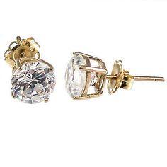 Genesis: 1.0cts Russian Ice Diamond CZ 5mm Cast Stud Earrings 14K Gold - Trustmark Jewelers