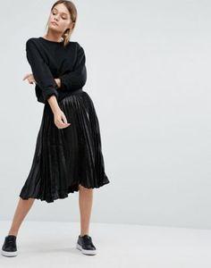 New Look - Jupe mi-longue plissée métallisée