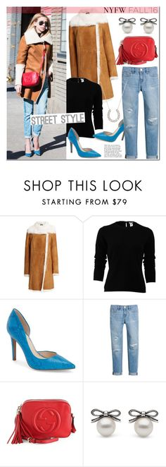 """""""Day Three: The Best NYFW Street Style"""" by littlehjewelry ❤ liked on Polyvore featuring Joseph, Oscar de la Renta, Jessica Simpson, White House Black Market, Gucci, Anja, women's clothing, women, female and woman"""