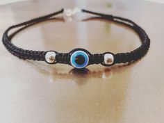 Evil eye macrame choker necklace by PrettyRocking on Etsy