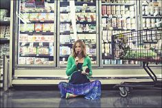 Get creative and take some photos in the grocery store of you eating your favorite cravings of your pregnancy.
