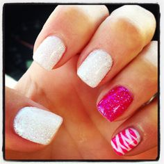 New sparkly, hot pink, zebra stripe gel nails! Love these!! :-) :-)