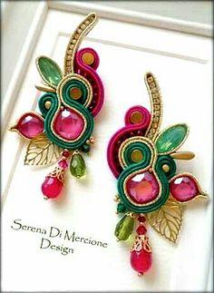 Rope Jewelry, Ribbon Jewelry, Funky Jewelry, Fabric Jewelry, Soutache Earrings, Bead Earrings, Earrings Handmade, Handmade Jewelry, Shibori