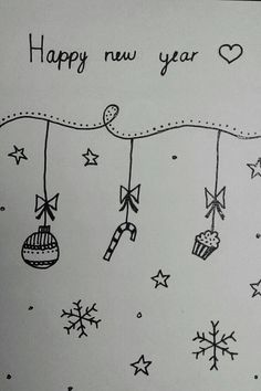 Happy new year kaart zwart wit