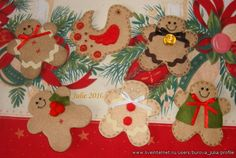 beautiful felt Christmas tree ornaments Felt Christmas Decorations, Felt Christmas Ornaments, Christmas 2015, Christmas Stuff, Christmas Ideas, Christmas Crafts, Felt Crafts, Diy Crafts, Ginger Men