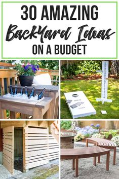 These backyard ideas on a budget are amazing! From patios to playsets, you'll find everything you need to create the perfect backyard in this list! These DIY projects will keep you busy all summer long! diy projects 30 Amazing Backyard Ideas on a Budget Budget Patio, Backyard Deck Ideas On A Budget, Back Yard Ideas Diy, Easy Patio Ideas, Deck Decorating Ideas On A Budget, Garden Diy On A Budget, Backyard Patio Designs, Backyard Landscaping, Backyard Decorations
