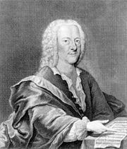 Georg Philipp Telemann (14 March 1681 – 25 June 1767), a German Baroque composer and multiinstrumentalist. Almost completely self-taught in music, he was the most prolific composer of his time with an oeuvre comprising more than 3,000 pieces. Equally important for the history of music were Telemann's publishing activities. By pursuing exclusive publication rights for his works, he set one of the most important early precedents for regarding music as the intellectual property of the composer.