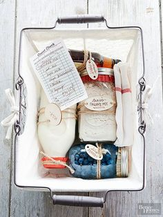 Pankcake Gift Basket - a creative handmade food gift basket for the holidays. Package together purchased or homemade pancake mix (check out our recipe), a container of milk, pure maple syrup, and fresh fruit, and instructions. Include the recipe on a keepsake recipe card. Plus, get 50 more homemade food gift ideas!