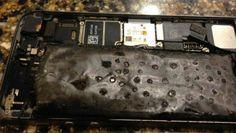 Momentul in care bateria unui iPhone 5S explodeaza