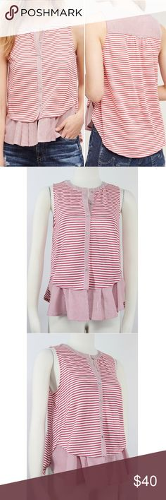 "Meadow Rue | Red Striped Fenella Swing Top 1042 Meadow Rose Women's Anthropolgie Fenella Red Ivory Stripe Sleeveless Fitted Trapeze Front Shirt. Crew Neck. Unlined. Drapes Beautifully. Retails $70 Size: S Small  Shoulder: 12""  Pit to Pit: 18.5""  Length: 25""  Condition: Excellent Used Condition - Almost New! Color: Red Ivory Pattern: Stripe Material: 57% Cotton, 43% Polyester Country: China Care: Machine Wash WT: 0.07 CSKU: 1042; 0.6 All measurements are approximate and taken laying flat…"