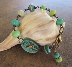 Ocean Blue Aqua Polymer Clay Starfish Bracelet Link, Blue and Green Lampwork…