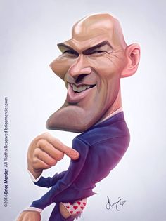 Zinedine Zidane (By Brice Mercier) Cartoon Faces, Funny Faces, Cartoon Art, Funny Caricatures, Celebrity Caricatures, Funny Celebrity Pics, Black And White Cartoon, Caricature Artist, Foto Fashion
