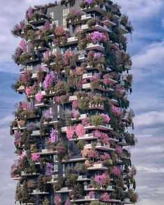 """The """"Bosco Verticale"""" (Vertical Forest) in Milan, Italy. (Photo by One of two residential towers in the Porta Nuova district. Each tower has 900 trees, shrubs and floral plants which help mitigate smog and produce oxygen. Unusual Buildings, Amazing Buildings, Futuristic Architecture, Beautiful Architecture, Ancient Architecture, Places To Travel, Places To Go, Vertical Forest, Beautiful Places To Visit"""