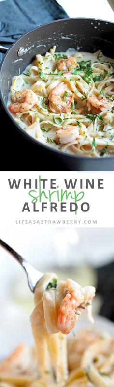 White Wine Shrimp Alfredo This easy pasta recipe is perfect for busy weeknights! A creamy white wine sauce, al dente fettuccine noodles, parmesan cheese, and simple sautéed shrimp make a hearty and filling meal - and it's lightened up with no heavy crea Easy Pasta Recipes, Fish Recipes, Seafood Recipes, Easy Meals, Cooking Recipes, Healthy Recipes, Sauce Recipes, Pasta Recipes For Dinner, Spaghetti Recipes