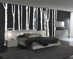 NOT just the decals but this whole room is glorious! Large Wall Birch Tree Decal Forest Kids Vinyl Sticker Removable (9 trees) 7 foot tall 1109. $74.99, via Etsy.