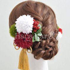 花飾り アレンジ名 古風な「赤×白×緑」   組み合わせ自由! 花の髪飾り専門店 HanaMary(ハナマリー)
