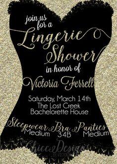 Gold Glitter Lingerie Shower Invitation Oh La Lingerie