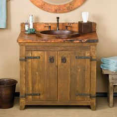copper sink & rustic cabinet :)
