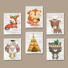 WOODLAND Nursery Wall Art Baby Forest Animals Canvas or