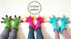 Monster Slippers CROCHET PATTERN PDF Kids Womens Mens Adult
