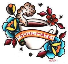 Soul Mate HEK Coffee Espresso Old School Tattoo Flash Canvas Art Print – moodswingsonthenet
