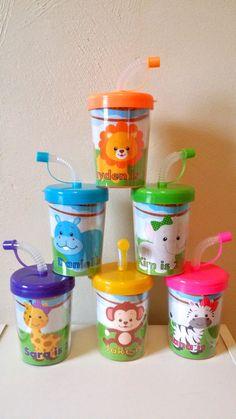 Zoo Animals Jungle Safari DO It Yourself Personalized Party Favor Cups, DIY Birthday Party Treat Cups, Zebra, Lion, Hippo, Monkey, Elephant